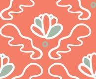 Teste padr?o sem emenda da flor verde cor-de-rosa do ornamento ilustração do vetor