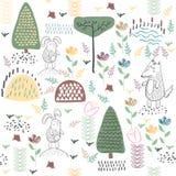 Teste padrão sem emenda da floresta do verão com animais bonitos ilustração royalty free