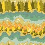 Teste padrão sem emenda da floresta e do rio do outono Fotos de Stock Royalty Free
