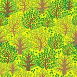 Teste padrão sem emenda da floresta verde da mola Imagens de Stock