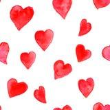 Teste padrão sem emenda da forma cor-de-rosa do coração da aquarela Imagens de Stock