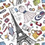 Teste padrão sem emenda da forma de Paris França Desgaste de Womancolored do verão Foto de Stock Royalty Free