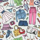 Teste padrão sem emenda da forma de Sammer Desgaste colorido mulher ilustração stock