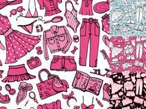 Teste padrão sem emenda da forma do verão Desgaste colorido mulher ilustração do vetor