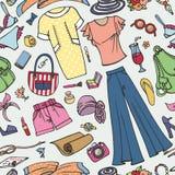 Teste padrão sem emenda da forma do verão Desgaste colorido mulher ilustração stock