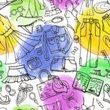 Teste padrão sem emenda da forma do verão Desgaste de mulher, caneco de cerveja da aquarela ilustração stock