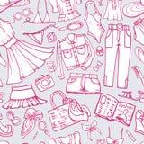 Teste padrão sem emenda da forma do verão Desgaste de mulher doodle ilustração do vetor