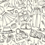 Teste padrão sem emenda da forma do verão Desgaste do esboço da mulher ilustração stock