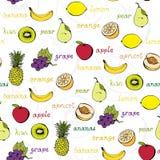 Teste padrão sem emenda da fruta Imagem de Stock Royalty Free