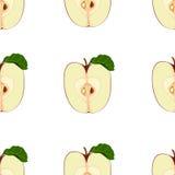Teste padrão sem emenda da fruta Metade realística de uma maçã vermelha com sementes, com uma folha verde Foto de Stock Royalty Free