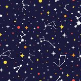 Teste padrão sem emenda da galáxia Fundo brilhante do espaço Textura da constelação da cor Ilustração do vetor para a cópia, cart ilustração do vetor