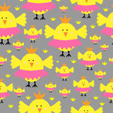 Teste padrão sem emenda da galinha do pintainho da princesa Foto de Stock Royalty Free
