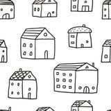 Teste padrão sem emenda da garatuja bonito com casas do esboço Imagens de Stock Royalty Free
