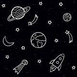Teste padrão sem emenda da garatuja com elementos do espaço Estrelas, planetas, cometa, lua, foguete, estrelas de tiro no fundo e ilustração royalty free
