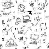 Teste padrão sem emenda da garatuja de objetos da sala de aula Fotografia de Stock Royalty Free
