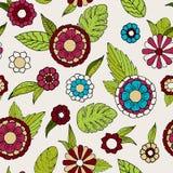 Teste padrão sem emenda da garatuja floral ilustração do vetor