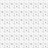 Teste padrão sem emenda da grade Cubo geométrico, efeito da estrela Projeto gráfico da forma Ilustração do vetor Projeto do fundo Imagens de Stock