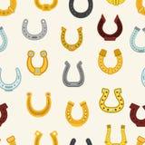 Teste padrão sem emenda da ilustração afortunada em ferradura do pé animal dos ícones da talismã da fortuna do símbolo da sapata  Fotografia de Stock