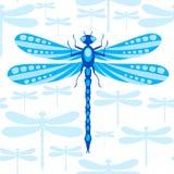 Teste padrão sem emenda da libélula Fotografia de Stock