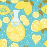 Teste padrão sem emenda da limonada com frutos frescos tirados mão do citrino abstrato Fotografia de Stock