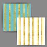 Teste padrão sem emenda da listra do vetor com efeito do selo da folha de ouro Imagens de Stock Royalty Free