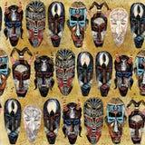 Teste padrão sem emenda da máscara étnica fundo tribal africano do totem fotografia de stock royalty free