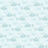 Teste padrão sem emenda da música azul dos peixes do sorriso Foto de Stock Royalty Free