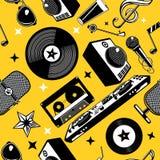 Teste padrão sem emenda da música retro com disco e registro do vinil Fundo musical Textura do vetor do partido ilustração do vetor