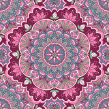 Teste padrão sem emenda da mandala em cores cor-de-rosa e azuis ilustração royalty free