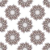 Teste padrão sem emenda da mandala grande e pequena do ramo de oliveira Ilustração do vetor Fotografia de Stock Royalty Free