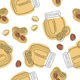 Teste padrão sem emenda da manteiga de amendoins do vetor Frasco da manteiga de amendoim ilustração royalty free