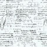Teste padrão sem emenda da matemática escrito à mão em um papel do caderno da grade Fotos de Stock