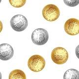 Teste padrão sem emenda da moeda dourada e de prata de Bitcoin fotografia de stock
