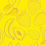 Teste padrão sem emenda da morango e da banana Ilustração Stock