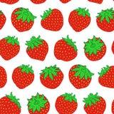 Teste padrão sem emenda da morango vermelha do vetor no branco imagens de stock royalty free