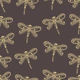 Teste padrão sem emenda da natureza da libélula Mão desenhada Imagem de Stock Royalty Free