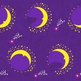 Teste padrão do roxo do fada-conto da lua Imagem de Stock Royalty Free