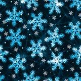 Teste padrão sem emenda da noite silenciosa do floco de neve Fotografia de Stock Royalty Free