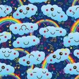 Teste padrão sem emenda da nota da música do amor do arco-íris da nuvem ilustração stock