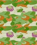 Teste padrão sem emenda da orquídea moderna com cores roxas, alaranjadas e verdes ilustração do vetor