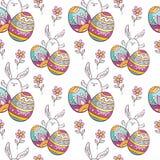 Teste padrão sem emenda da Páscoa com coelhos bonitos Fotografia de Stock Royalty Free