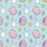 Teste padrão sem emenda da Páscoa com coelhos bonitos Imagens de Stock