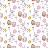 Teste padrão sem emenda da Páscoa com coelhos bonitos Imagem de Stock Royalty Free