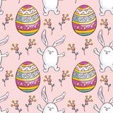 Teste padrão sem emenda da Páscoa com coelhos bonitos Imagem de Stock