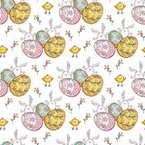 Teste padrão sem emenda da Páscoa com coelhos bonitos Fotografia de Stock