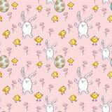 Teste padrão sem emenda da Páscoa com coelhos bonitos Foto de Stock
