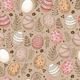 Teste padrão sem emenda da Páscoa com os ovos do ornamental da garatuja Foto de Stock