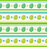 Teste padrão sem emenda da Páscoa com ovos pintados Fundo do vetor Fotografia de Stock