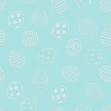 Teste padrão sem emenda da Páscoa do vetor Ovos da páscoa na luz - fundo azul ilustração do vetor