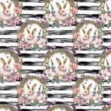 Teste padrão sem emenda da Páscoa feliz da mola da aquarela Fotos de Stock Royalty Free